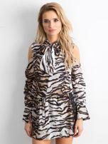 BY O LA LA Biało-czarna sukienka w tygrysie paski                                  zdj.                                  1