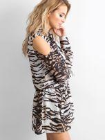 BY O LA LA Biało-czarna sukienka w tygrysie paski                                  zdj.                                  3