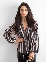 BY O LA LA Różowo-czarna bluzka z koronką                                  zdj.                                  1