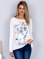 Bawełniana bluzka z nadrukiem kwiatów biała                                  zdj.                                  1