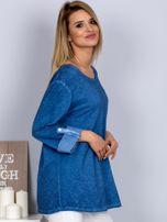 Bawełniana melanżowa bluzka ciemnoniebieska                                  zdj.                                  5