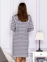 Bawełniana sukienka w paski ze sznurowaniem niebieska                                  zdj.                                  2