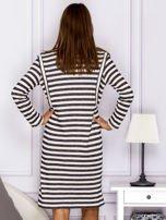 Bawełniana sukienka w paski ze sznurowaniem szara                                  zdj.                                  2
