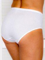 Bawełniane figi damskie high waist w kropki 2-pak biało-beżowe                                  zdj.                                  3