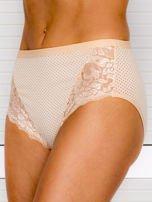 Bawełniane figi damskie high waist w kropki 2-pak biało-beżowe                                  zdj.                                  4