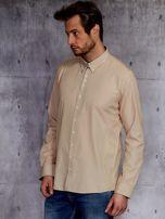 Beżowa koszula męska w drobną kratkę PLUS SIZE                                  zdj.                                  3