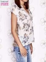 Beżowa koszula z kwiatowym motywem i ażurowym tyłem                                  zdj.                                  4