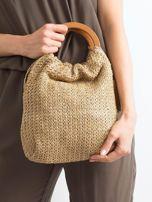 Beżowa mała torebka pleciona do ręki                                  zdj.                                  3
