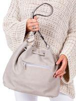 Beżowa miękka torba ze ściągaczem                                  zdj.                                  3