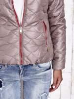 Beżowa pikowana kurtka z futrzanym ociepleniem                                                                           zdj.                                                                         6