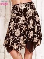 Beżowa spódnica w kwiaty z karczkiem                                  zdj.                                  1