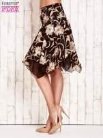 Beżowa spódnica w kwiaty z karczkiem                                                                          zdj.                                                                         3