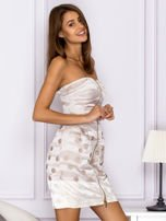 Beżowa sukienka w grochy                                   zdj.                                  3
