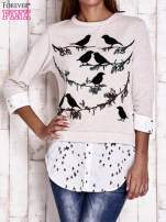 Beżowa warstwowa bluza z motywem ptaków                                  zdj.                                  1