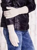 Beżowe długie rękawiczki z drapowanym rękawem                                  zdj.                                  3