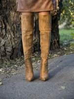 Beżowe zamszowe kozaki na szpilkach za kolano                                  zdj.                                  1