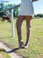 Beżowe zamszowe wiązane kozaki za kolano
