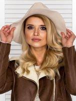 Beżowy filcowy kapelusz damski                                   zdj.                                  2