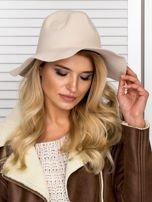 Beżowy filcowy kapelusz damski                                   zdj.                                  3