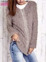 Beżowy futrzany sweter kurtka na suwak                                                                          zdj.                                                                         3