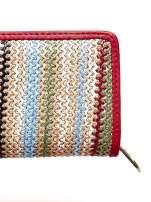 Beżowy pleciony portfel w pionowe czerwone paski                                  zdj.                                  5