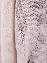 Beżowy sweter z nadrukiem i efektem destroyed                                                                           zdj.                                                                         4