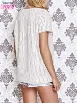 Beżowy t-shirt w drobne groszki z napisem LIU J❤                                  zdj.                                  4