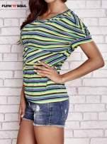 Beżowy t-shirt w kolorowe paski FUNK N SOUL                                  zdj.                                  3