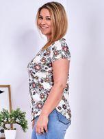Beżowy t-shirt w roślinne desenie PLUS SIZE                                  zdj.                                  5