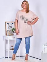 Beżowy t-shirt  z roślinnym printem PLUS SIZE                                  zdj.                                  4