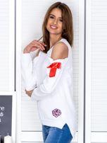 Biała bluza cut out z wstążkami                                  zdj.                                  3