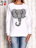Biała bluza z nadrukiem słonia                                                                          zdj.                                                                         1