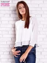 Biała bluzka koszulowa z biżuteryjnym dekoltem                                  zdj.                                  3