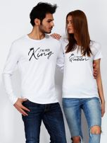Biała bluzka męska I'M HER KING z nadrukiem dla par                                  zdj.                                  3