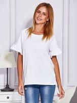 Biała bluzka z falbanami na rękawach                                  zdj.                                  1