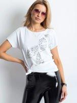 Biała bluzka z roślinnym motywem i perełkami                                  zdj.                                  1