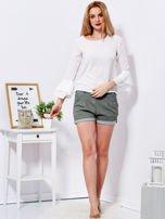 Biała bluzka z rozszerzanymi rękawami                                  zdj.                                  4