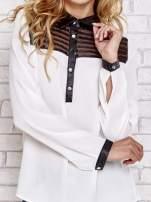 Biała koszula ze skórzanym kołnierzykiem i koronkowym dekoltem                                  zdj.                                  5