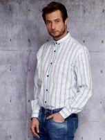 Biała kraciasta koszula męska PLUS SIZE                                  zdj.                                  3