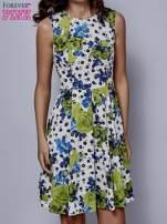 Biała rozkloszowana sukienka w zielone kwiaty                                  zdj.                                  1