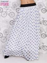 Biała spódnica maxi w niebieskie grochy                                                                          zdj.                                                                         1