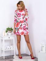 Biała sukienka floral print z gumką w pasie                                  zdj.                                  4