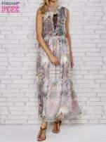 Biała sukienka maxi w ornamentowe wzory z koronką z tyłu                                  zdj.                                  1
