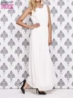 Biała sukienka maxi z biżuteryjnym dekoltem                                  zdj.                                  3