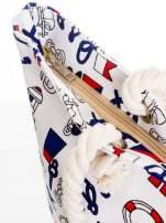 Biała torba plażowa w kotwice