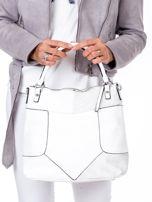 Biała torba z łączonych materiałów                                  zdj.                                  4