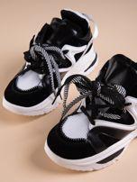 Białe buty sportowe na platformie z podwójnymi sznurówkami                                  zdj.                                  4