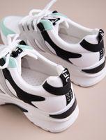 Białe buty sportowe ze skórzanymi miętowymi wstawkami                                   zdj.                                  4