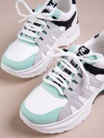 Białe buty sportowe ze skórzanymi miętowymi wstawkami                                   zdj.                                  5