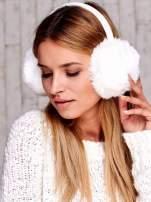 Białe futrzane nauszniki na zimę                                  zdj.                                  3